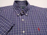 Ralph Lauren Mens Medium Classic Fit S/S Button-Down Blue Plaid Check Shirt