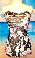 FREEWAY Womans STRETCH Ruffle Layers LIGHTWEIGHT Floral Print CAMI TANK Top Lg