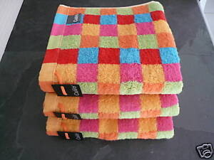 Cawö Lifestyle 3 Multicolor Towels Cubes, Checks, Checked, New