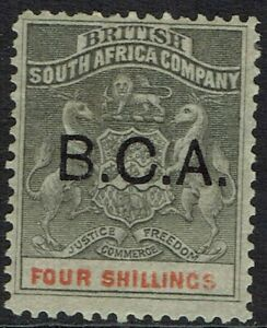 BRITISH CENTRAL AFRICA 1891 BCA OVERPRINTED ARMS 4/-
