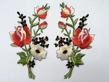 #5093R Lot 2Pcs Red Rose Embroidery Iron On Appliqué Patch/Pair