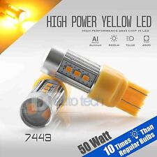 2X 900 Lumens 7443 50W High Power LED Amber Yell​ow Turn Signal Light Bulbs