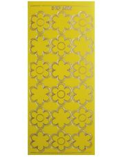 BOLD FLOWERS YELLOW Peel Off Stickers Daisies Bloom Gold Outline