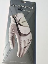 Maxfli Md For Women Size Med White and Gray Leather Golf Glove Left Handed