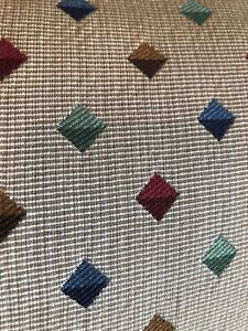 "2001 Manuel Canovas Multi Cube On Beige Fabric Sample 16x16"" $326yd."
