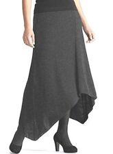 $298 BNWT Eileen Fisher Italian Fine Merino Rib CHARCOAL  Grey Asym Skirt XL 1X