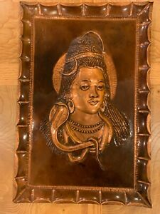 Vintage 3D Wall Hanging Art Embossed Copper Asian Hindu God Lord Shiva India
