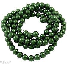 50 Glaswachsperlen 8mm grün flaschengrün glänzend metallic Perlen Glasperlen