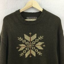 Mens Large ABERCROMBIE & FITCH Wool Nylon Sweater Ski Crewneck /25c