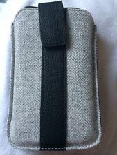 BNIB Hugo Boss 'Alness L' Universal Phone Case. Cow Leather And Herringbone Wool