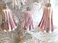 3 Pink Christmas Bells Ornaments Snow Frosted Shabby Chic Pastel