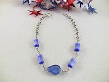 "Women's Bracelet Blue Murano Glass Bead Silver-Toned Peruvian 7-3/4"" L Jewelry"