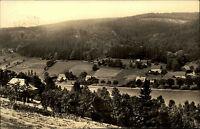 Holzhau Erzgebirge DDR s/w AK 1964 Blick von oben auf Häuser und Felder Panorama