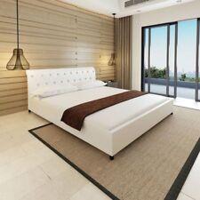Letto Matrimoniale 180x200 Design Elegante con Doghe in Ecopelle Bianco