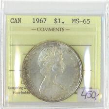 Canada 1967 $1 One Dollar ICCS Certified MS-65 Queen Elizabeth II XTG 802