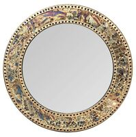 "24"" Fired Gold, Round Wall Mirror, Handmade Crackled Glass Mosaic Accent Mirror"