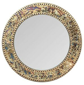 """24"""" Fired Gold, Round Wall Mirror, Handmade Crackled Glass Mosaic Accent Mirror"""
