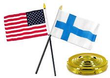 "Finland w/ USA American Flag 4""x6"" Desk Set Table Stick Gold Base"