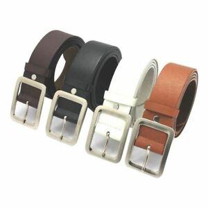 Men's Faux Leather Belt Buckle Waist Strap Belts Fashion Jeans Pants UK POST