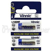 2 x Vinnic L1028F 23A batteries Alkaline 12V A23 MN21 FREE Shipping