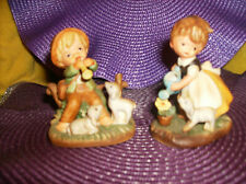 Set/2 Genuine Porcelain Boy & Girl With Sheep Figurines New In Box Napcoware