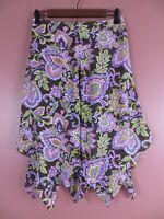 SK12296- JONES NEW YORK Womens 100% Silk Asymmetrical Tiered Skirt Floral Sz 2P