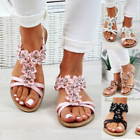 New Womens Flatform Sandals Slingback Embellished Comfy Holiday Shoes Sizes 3-8