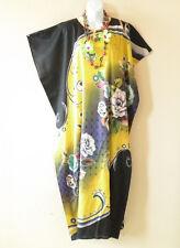 KD78 Yellow Women Kaftan Caftan Batwing Tunic Abaya Dolman Maxi Dress L to 2X