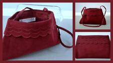 vintage 70's 80's Reva Ultrasuede pop-open clutch purse bag scalloped burgundy