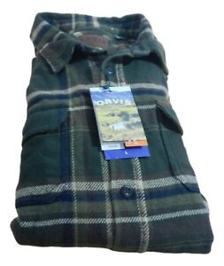 Men's Orvis Long Sleeve 100% Cotton Classic Fit Heavy Weight Flannel Shirt
