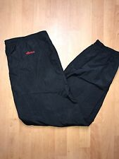 VINTAGE ELLESSE BLACK TRACK PANTS 100% Nylon Ankle Zip US Size L