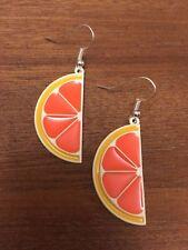 Orange Slice Earrings Lemon Lime Citrus 70's Fancy Dress Novelty Fruit Accessory