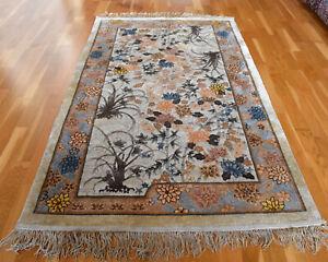 Silk Chinese Handmade Vintage Traditional Oriental Wool Rug 165 X 90cm