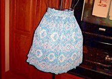 Vintage Women'S Floral Multi-Color Pleated Blue Print Half Apron