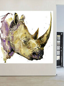 Rhino art painting canvas cat hand painted framed animal africa quality