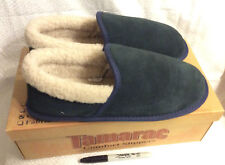 (11m)Men's Tamarac Leather Suede Blue Slippers-ship free