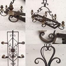 lustre rustique fonte de fer model  six de lumière coupelles verre . XX siècle .