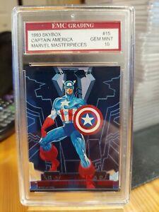 CAPTAIN AMERICA 1993 Marvel Masterpieces Card EMC GRADED 10 VINTAGE SKYBOX