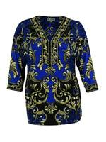 JM Collection Women's Embellished Jersey Tunic Top (PS, Blue Scroll)