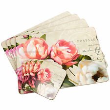 Set of 4 Placemats & Coasters Cork Dining Table Mats Grey Vintage Floral Roses