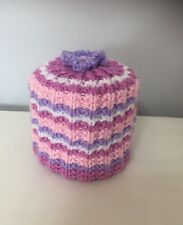 Hand Knitted Toilet Roll Cover/ Spare Toilet Roll Holder Pinks Lilac + White
