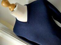 T M LEWIN Merino Wool Jumper V Neck Top Knitwear Navy Blue Mens Size S/M