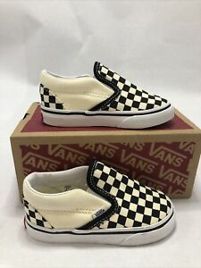 Kid's Vans Classic Slip-On Black & White Checkerboard/White 6.5 Toddler (010)