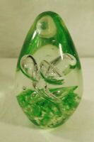 "Studio Art Glass Green Twist Bubbles Egg Shaped 4"" Paperweight"