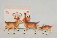 Bone China Japan Miniature Shadowbox Deer Buck Doe Fawn Figurines
