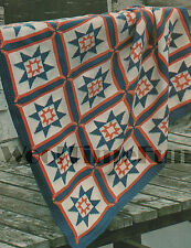 Knitting Pattern Star Design Patchwork Quilt/Blanket/Afghan.  50 x 56 Inches.