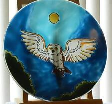 Moonlit Owl in Flight Fused Art Glass Platter Bird Lodge Decor Made in Ecuador