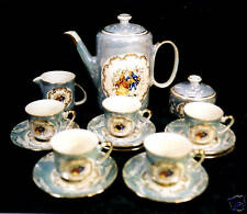"14-PCE ITALY DEMITASSE COFFEE/TEA SET-""COLONIAL COUPLE"""