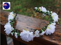 Women Girl White flower Wedding Bride Party Hair head Headband Hoop Prop Garland