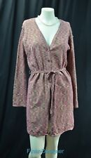 BICE button cardigan long sweater coat knit duster Top marled metallic L NEW VTG
